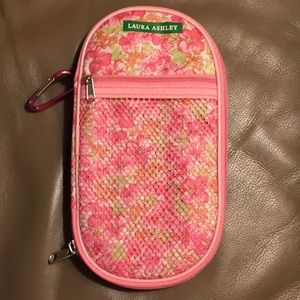 Pink Laura Ashley Makeup Cosmetic Case, Carabiner